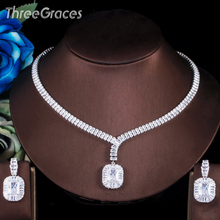 Wedding-Jewelry-Set Necklace Cubic-Zirconia Dangle-Earrings Threegraces Silver-Color