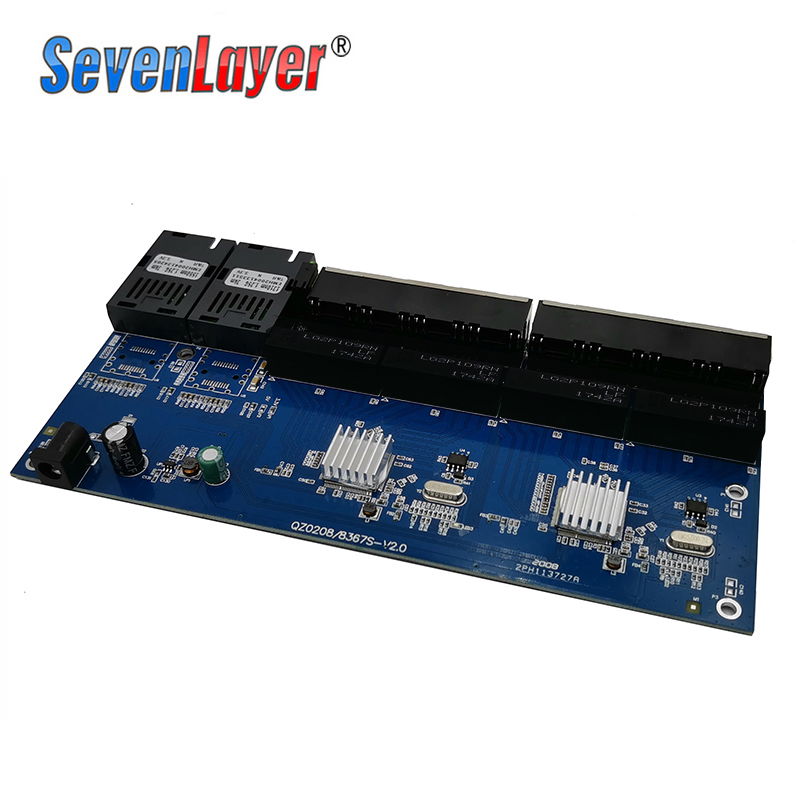 lowest price 10 100 1000M Gigabit Ethernet switch Fiber Optical Media Converter PCBA 8 RJ45 UTP and 2 SC fiber Port Board PCB 1PCS