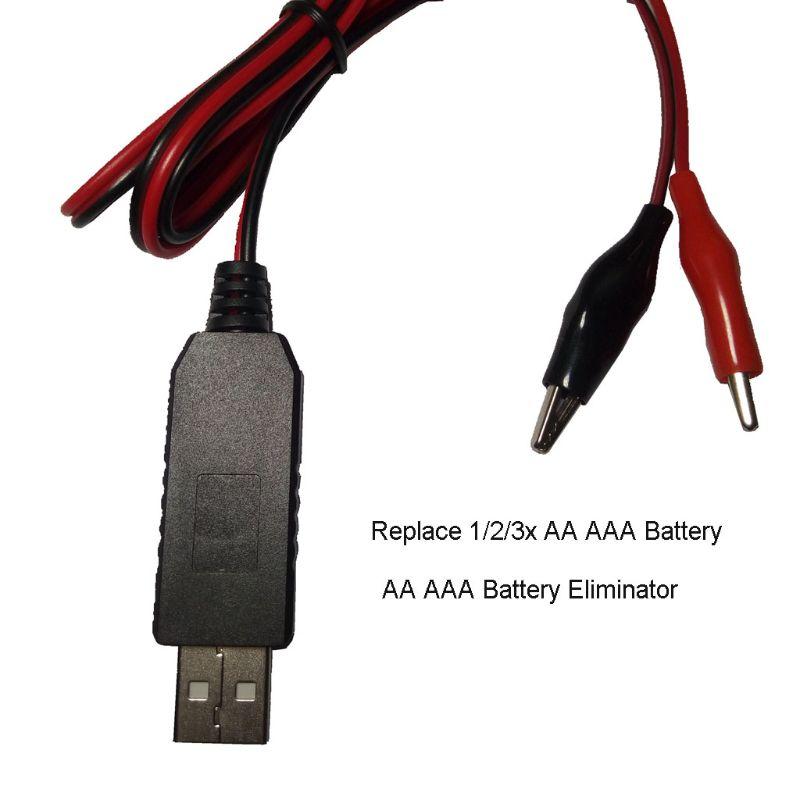 AA AAA батарея с разъемом USB 5 В до 1,5 В/3V4. 5 в понижающий кабель с зажимом Регулируемая линия преобразователя Напряжения для часов дистанционное управление