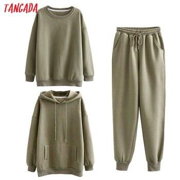 Tangada Women couple sweatshirt fleece 100% cotton amygreen oversized hood hoodies sweatshirts plus size SD60 1