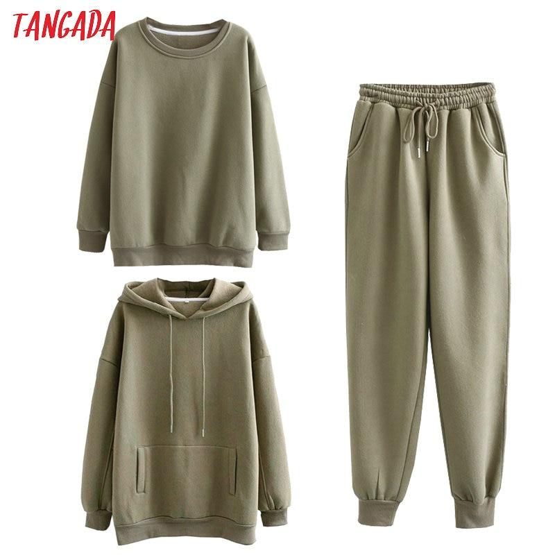 Permalink to Tangada Women couple sweatshirt fleece 100% cotton amygreen oversized hood hoodies sweatshirts plus size SD60