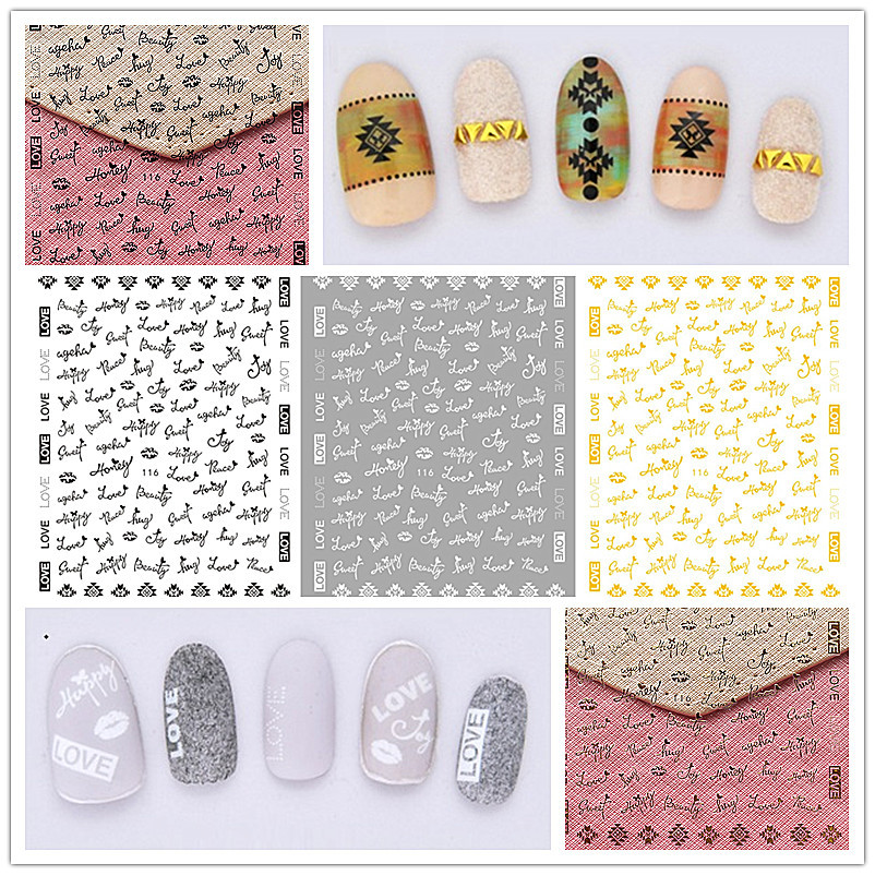 Japanese-style Manicure Gum 3D Sticker Heart English Lettered Lips Gold-Tone Black And White Phototherapy Nail Jewelry Flower St