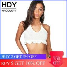 HDY Haoduoyi 2019 moda mujer breve sólido blanco CropTops Casual sin espalda fruncido camisetas de verano Sexy de punto con encaje