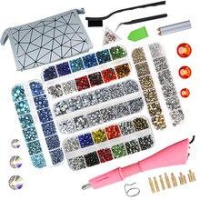 Applicateur de Strass en verre de cristal, ensemble de 8800 pièces, fer à repasser, baguette, pistolet à outils de fixation à chaud