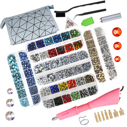 8800PcsEU/US Hot Fix Rhinestones Set/Crystal Glass Hotfix Rhinestone Applicator Iron-on Wand Strass Rhinestone Heat-fix Tool Gun