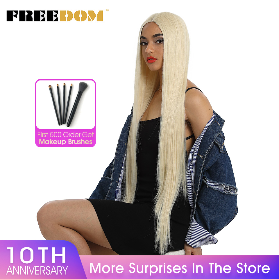 FREEDOM Synthetic Lace Front Wig For Black Women Supper Long 38Inch Ombre Blond 3 Color Natural Straight Hair Wigs Cosplay Wigs
