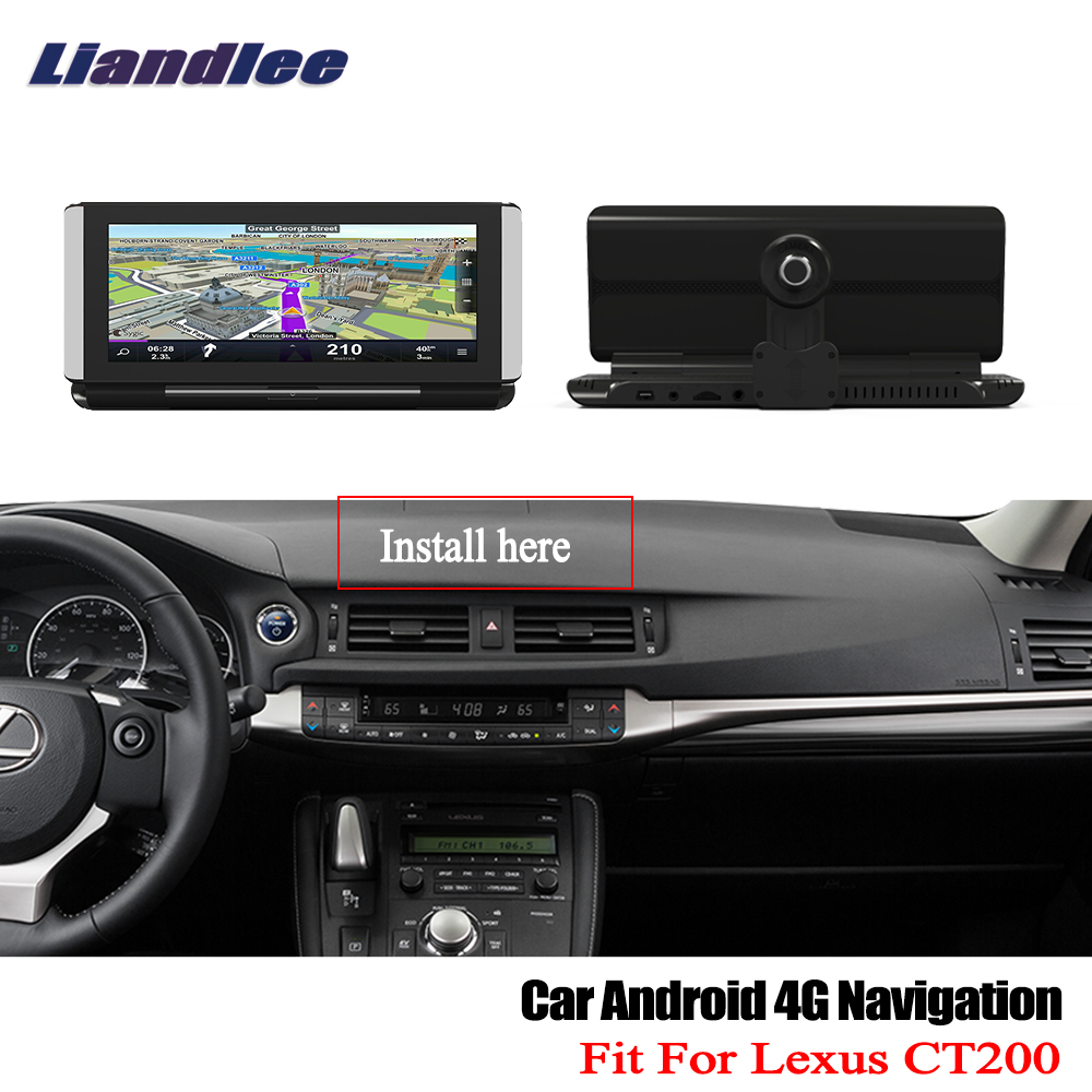 Liandlee For <font><b>Lexus</b></font> CT200 200H 2011~2017 <font><b>Car</b></font> Android 4G 1080P <font><b>DVR</b></font> Front rear Camera GPS Navi Nav Maps HD Screen Bluetooth WiFi image