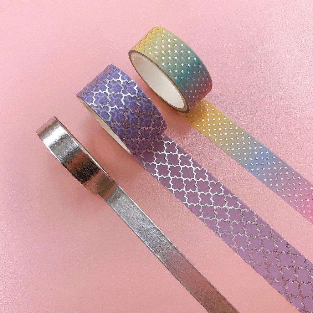 3 pçs/set Folha Dourada conjunto de Fitas Washi Masking Tape Scrapbooking Flor DIY Adesivo Deco Tape|Fita adesiva p/ escritório|   - AliExpress