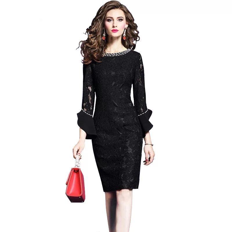 Moda Feminina Elegante Beading Rendas Vestido de Festa Fêmea Do Vintage de Alta Qualidade Designer De Robe Femme Office Party Lápis Vestidos - 3