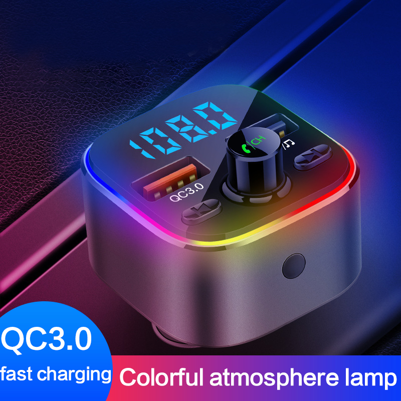 FM Transmitter Car Kit Handsfree Wireless Bluetooth MP3 Player Dual USB QC3.0 Fast Charger Handsfree Colorful Atmosphere Lights image