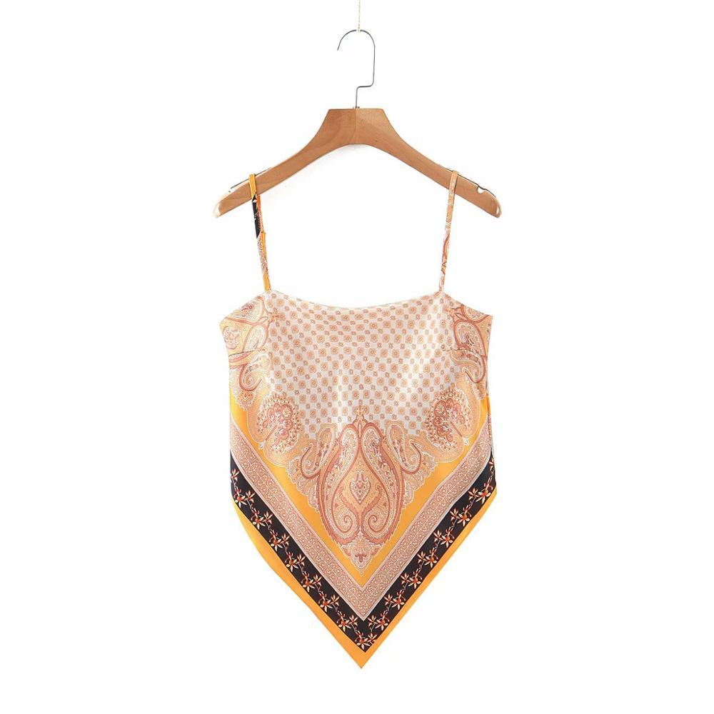 2019 New Women vintage paisley print spaghetti strap sexy chic camis tank ladies summer backless bowknot