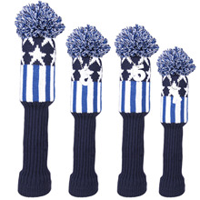 4pcs Knitted Pom Pom Headcover Knit Golf Driver Fairway Wood Hybrid Head Cover