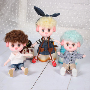 Image 1 - 1/12 BJD Dolls 26 ball joint body 15CM Mini Doll Lucky Pig ob11 DBS Doll with Equipment Shoes Makeup Set Gift Toy