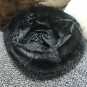 Image 5 - אופנה מינק פרווה כובע לנשים אמיתי טבעי פרווה כל למעלה אביזרי חם ברוסית חורף כובעי פרווה ליידי