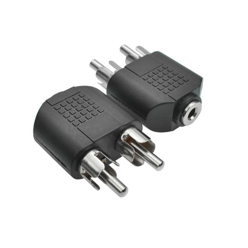 3.5mm Audio Stereo Jack Female To 2 RCA Male Audio Jack Connector Adapter Convertor Speaker Power Amplifier Nickle Plated