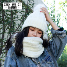 Sportswear Winter Lengthen Large Scarf Wool Hat Female Two-Piece Set One-Piece Knitted Warm Brushed And Thick Windproof Suitable(China)