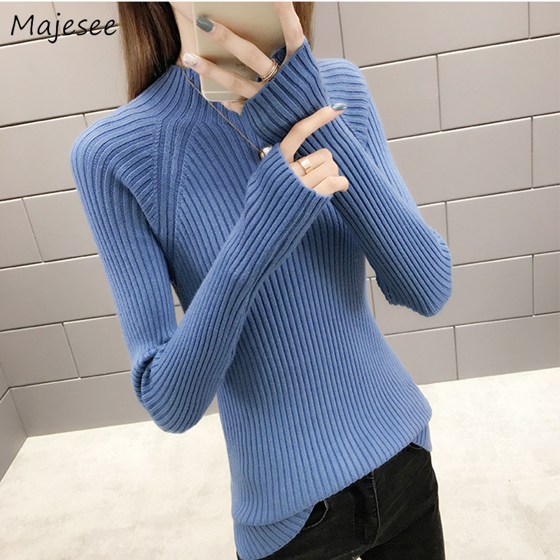 Winter Women Thicker Warm Knitting Sweaters Solid Turtleneck Womens Pullovers Chic All-match Casual Korean Style Elegant Slim