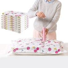 DJLJLZWE Fashion Vacuum Storage Bag Cherry Pattern Foldable Large Capacity Reusable Clothing Home Travel