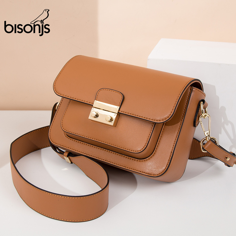 BISON DENIM Genuine Leather Women Bag New Luxury Handbags Women Bags Designer Ladies Fashion Shoulder Bag Crossbody Bags B1770