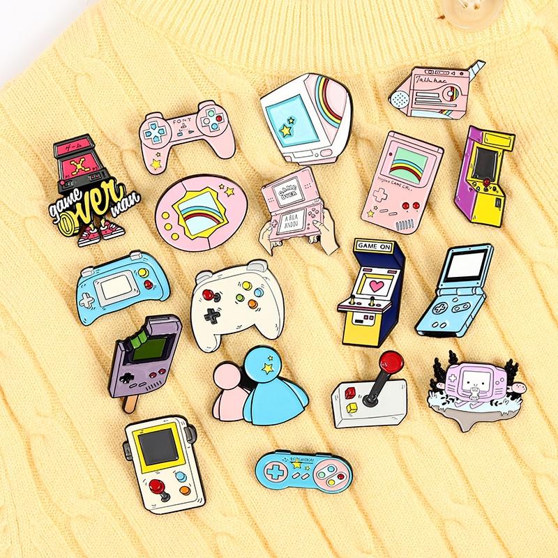 90s Gamepad Jewelry Retro Arcade Game Enamel Pins Collections Cartoon Brooches Denim Shirt Collar Badge Lapel Pins Friends Gift