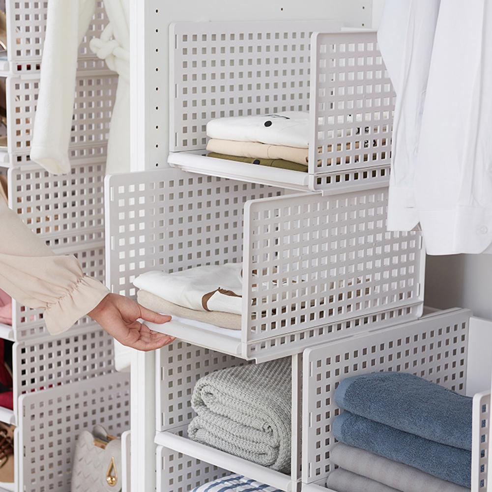 Foldable Stackable Drawer Type Storage Basket for Bedroom Wardrobe Closet Organize