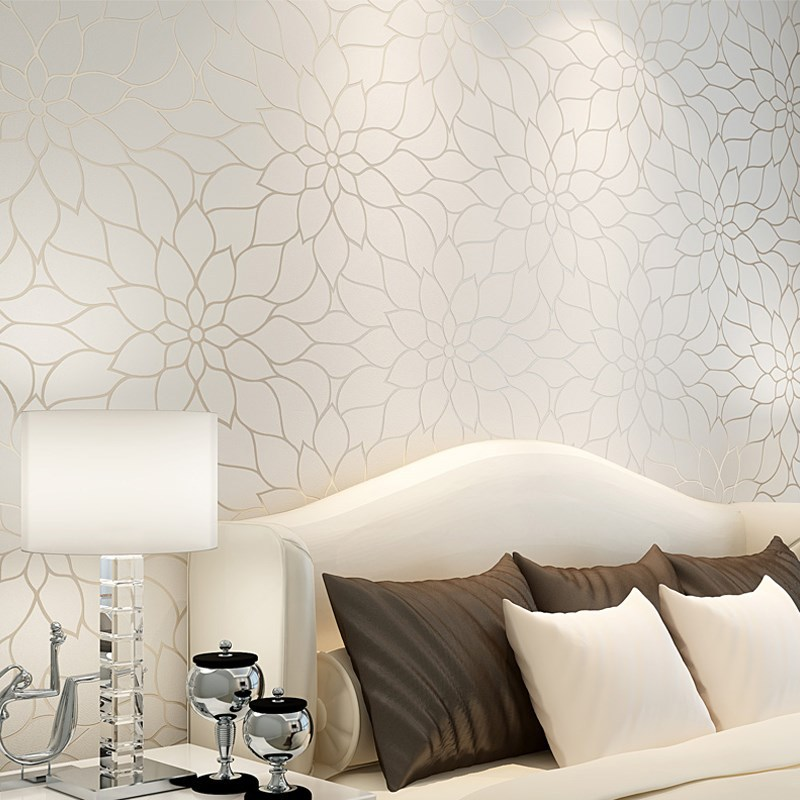 Non-woven Wallpaper 3D White Lotus Bedroom Living Room Restaurant Wall Waterproof Pastoral Style Wallpaper