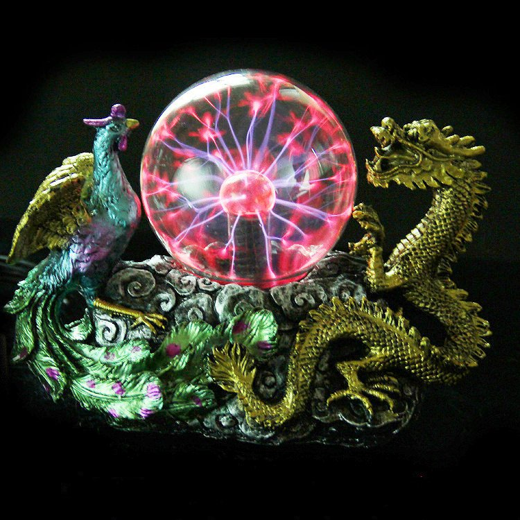 Thunder Plasma Ball Light Electrostatic Induction Creative Crystal Dragon Phoenix Auspicious Sculpture Decorative Magic Lighting
