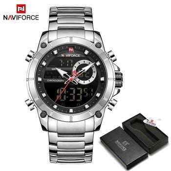 NAVIFORCE Men Military Sport Wrist Watch Gold Quartz Steel Waterproof Dual Display Male Clock Watches Relogio Masculino 9163 12