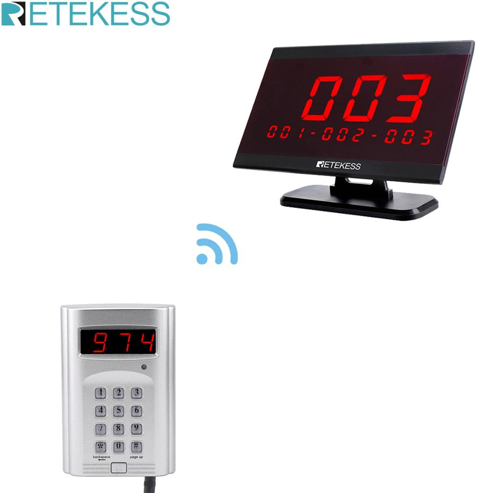 Retekess 1 Keyboard Transmitter + 1 Receiver Host Display Wireless Call System Restaurant Paging Queuing System Customer Service