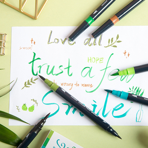Image 4 - Monami Color Twin Brush Watercolor Brush Pen Double Head Art Markers Sketching Painting Brush Lettering 04038