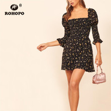 ROHOPO Double Layers Floral Off Shoulder Top Smocking Black Dress Elegant Pleated Buttom Ruffled Cuff Party Mini Robe #218
