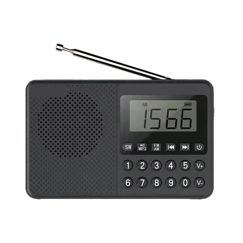 FULL-Portable FM/AM/SW Radio Media Speaker MP3 Music Player Support TF Card with LED Screen Display and Large Ailicone Key(Black
