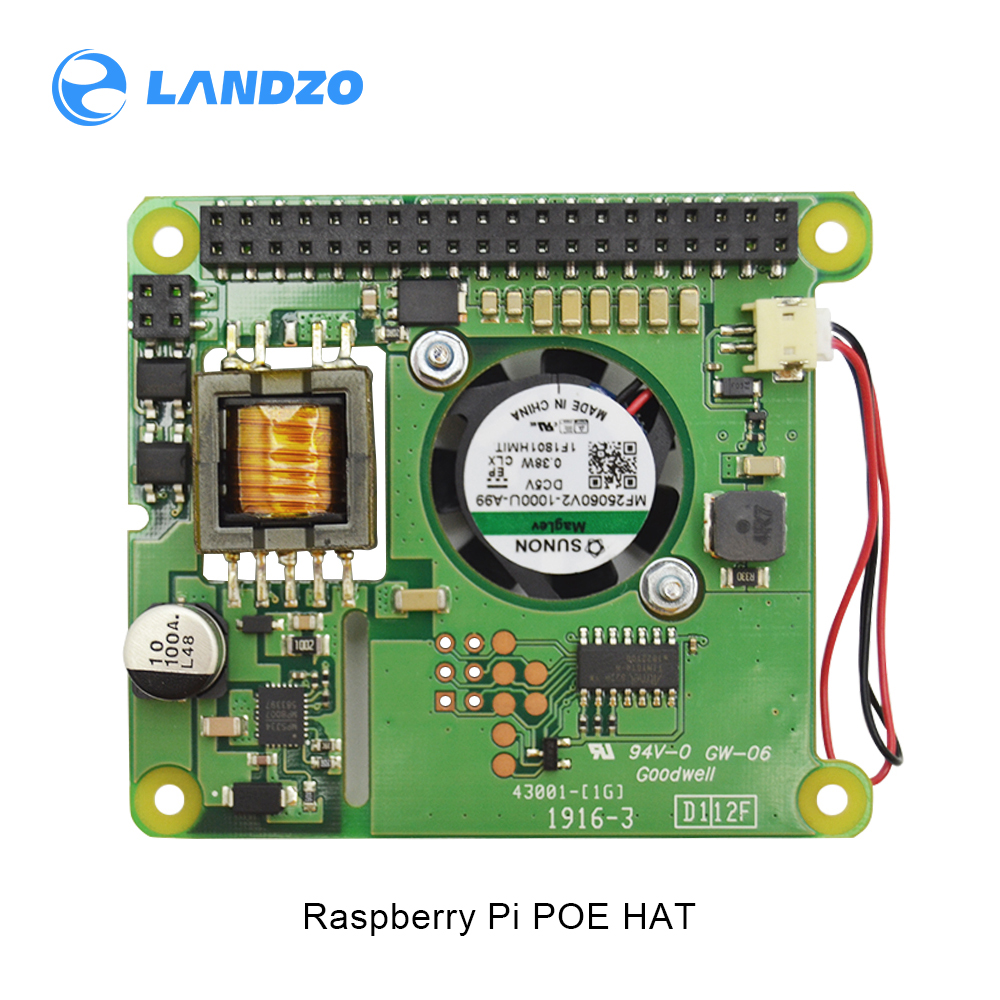 Raspberry Pi 4B Ethernet PoE Power Supply Module POE HAT Expansion Board with Fan Cooling