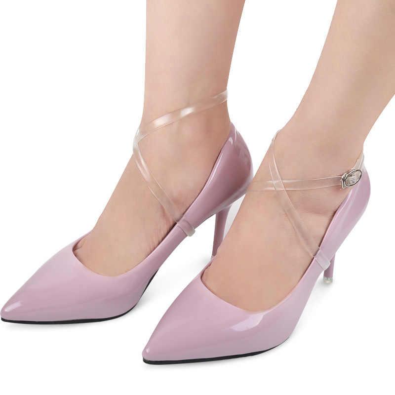 1 par sólido transparente invisível silicone cadarços para salto alto feminino elástico anti-queda feixe sapato cordas tornozelo cintas