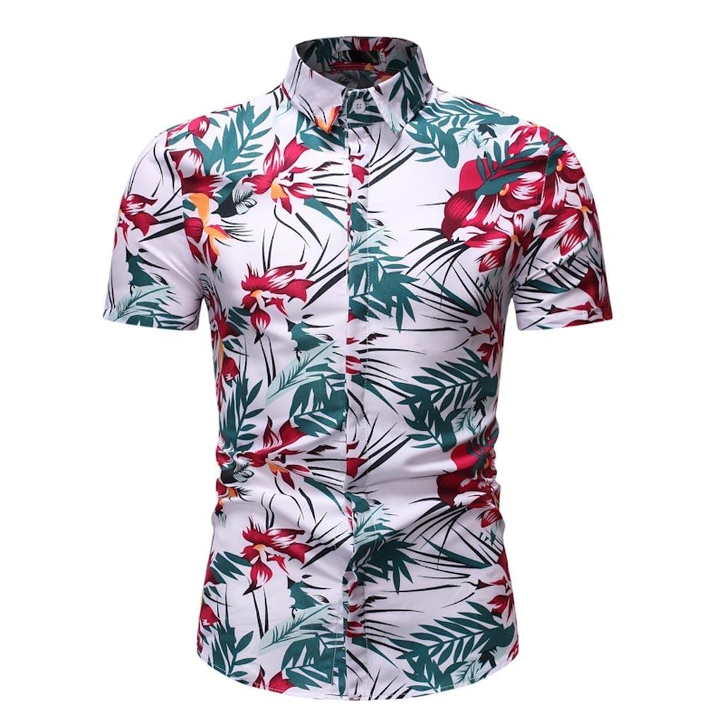 Mens Shirts  /2019 New Fashion Boutique Printing Men's Slim Casual Short-sleeved Shirts   May31
