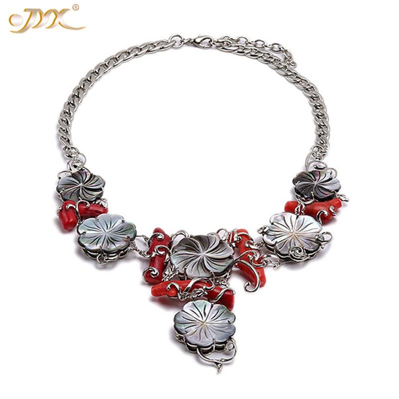 JYX изумительное коралловое ожерелье в виде цветка из натурального жемчуга 25 35 мм жемчужные ожерелья Черная оболочка 19 элегантный стиль для
