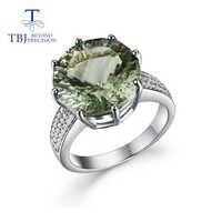Anillo de amatista verde de gran tamaño de piedra preciosa natural de corte de Estrella de Plata de Ley 925 diseño de moda joyería fina para niña PROMOCIÓN DE tbj