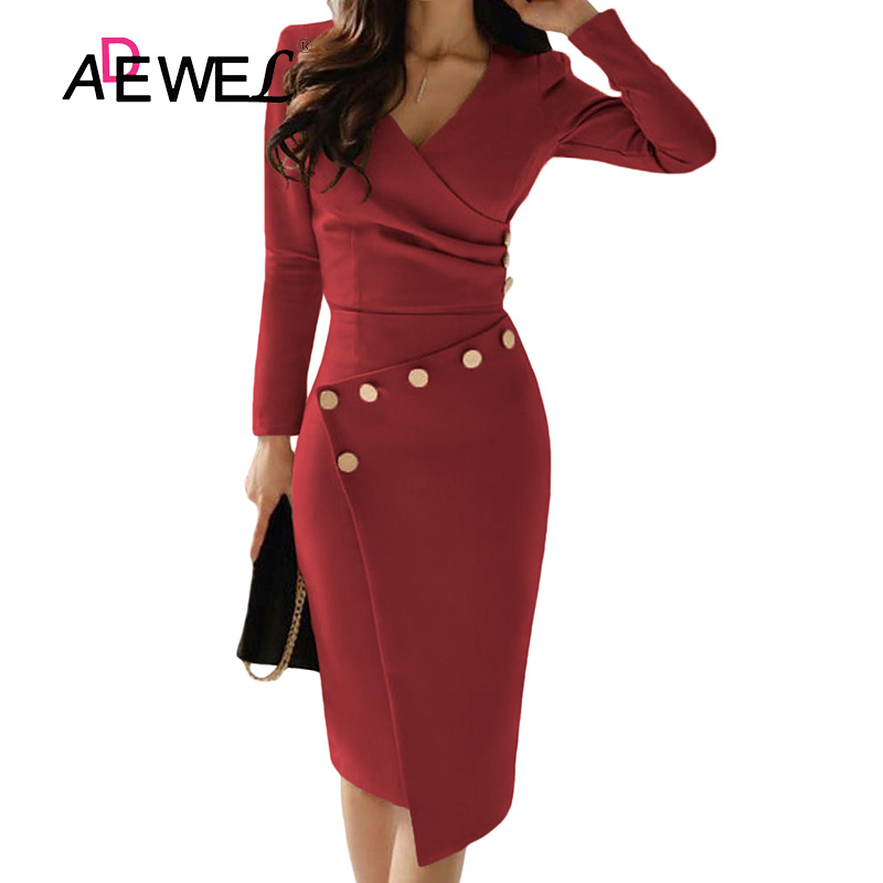ADEWEL Button Detail White Ruched Bodycon Office Work Dress Women Long Sleeve V-Neck Party Midi Gown Dress 11