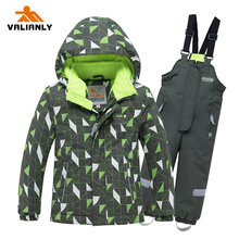 VALIANLY 2019 Winter Ski Suits Kids Snowsuit Boys Girls Jacket Pants 2pieces Hooded Waterproof Windproof Snow Sets Outdoor