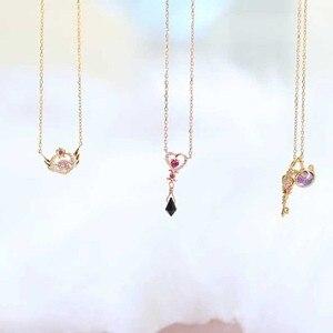 Ожерелье Сейлор Мун с кристаллом из серебра 925 пробы, ожерелье с космическим временем для черной леди, Нео королева серенти, коллекция