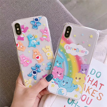 Korean couple phone cover for case iphone 8 7 plus xr x xs 6 6s max care bears clear soft thin tpu
