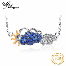 цена JPalace Cloud Created Blue Spinel Pendant Necklace 925 Sterling Silver Chain Gemstones Choker Statement Necklace Women 45cm онлайн в 2017 году