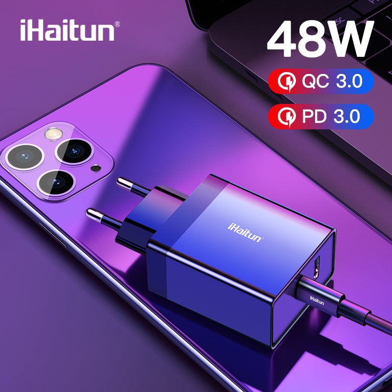 Ihaitun 48W Pd Type C Usb Charger Mini Quick Lading Qc 3.0 4.0 Snelle Reislader Voor Iphone 11 pro Max Samsung S10 Plus Pd 30W