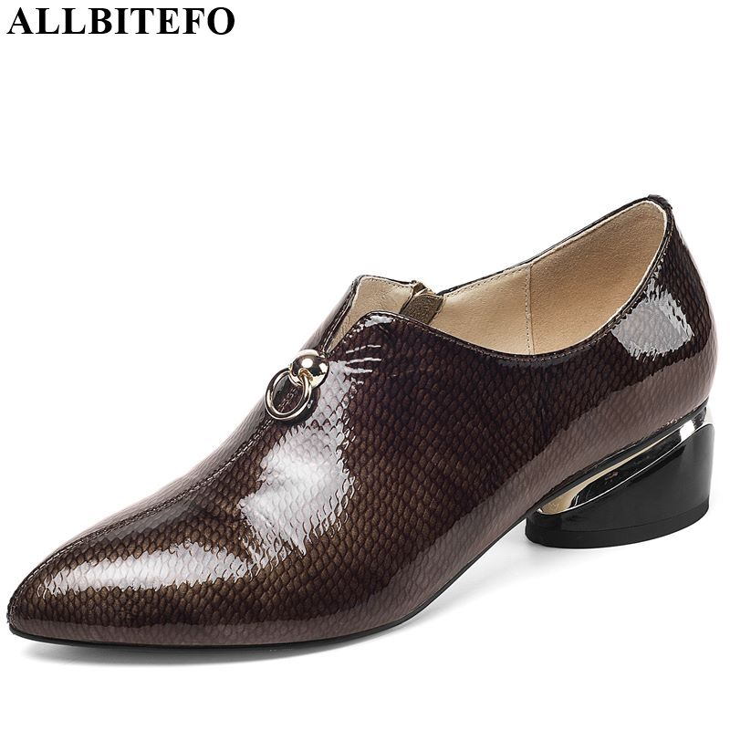 ALLBITEFO Fashion Brand Full Genuine Leather Thick Heel Women Shoes High Quality High Heels Office Ladies Shoes Women Heels