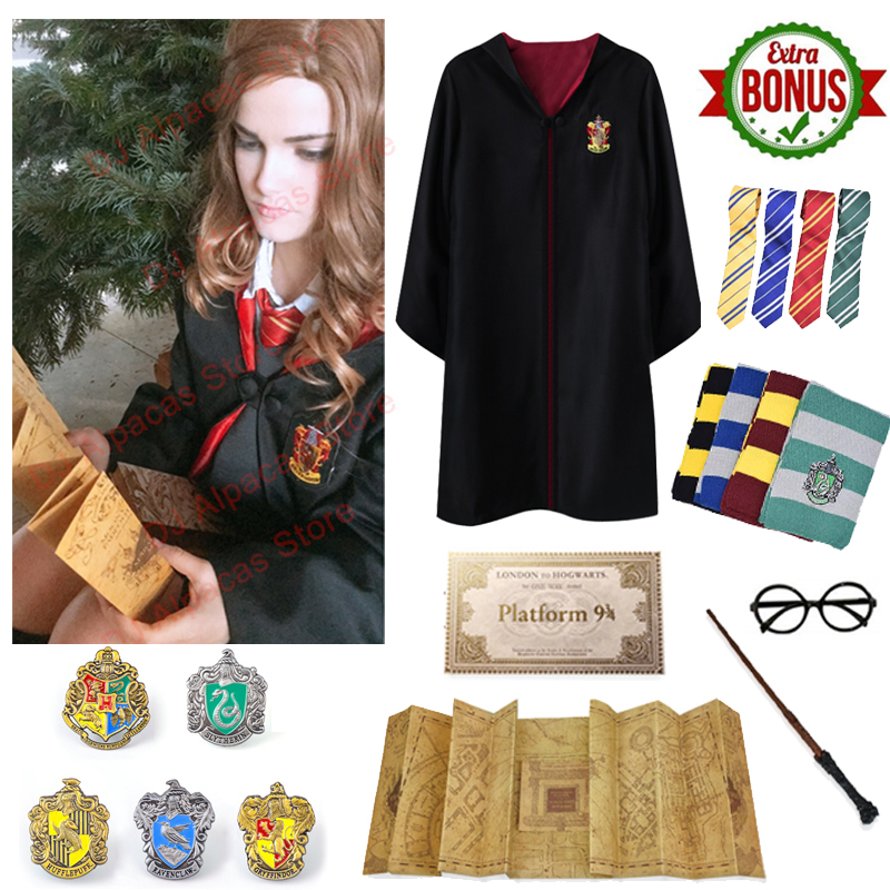 Gryffindor Robe Potter Costume Marauder's  Maps Hermione Granger Cosplay Slytherin Cloak Badge Scarf Wand Glasses Halloween