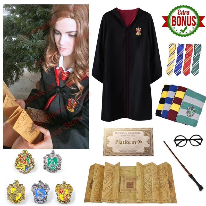 Gryffindor Robe Potter Costume Marauder's  Maps Hermione Granger Cosplay Slytherin Cloak Badge Scarf Wand Glasses Halloween