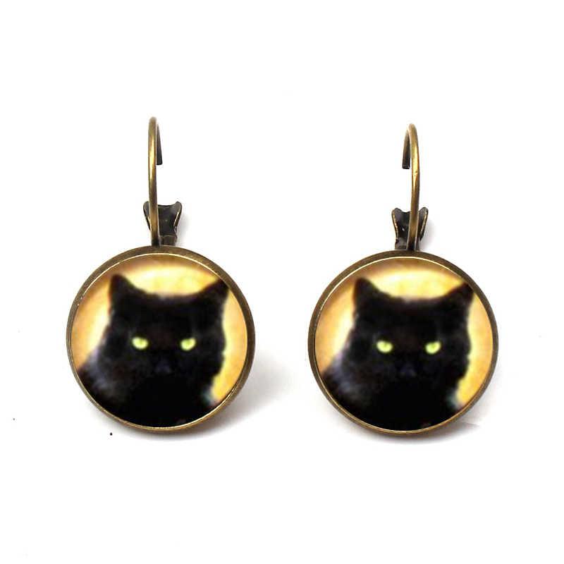 שחור חתול עגיל לבן חתול זכוכית קרושון עגיל ברונזה עתיק כסף תליון בעלי החיים עגילי נשים תכשיטים סיטונאי מתנות