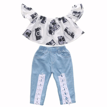 3-8T Girls Suits Camera Print White Top+Lace up Jeans Pants 2PCS Kids Summer Clothes Toddler outfits Back to School Clothes geometric print knot back top with pants