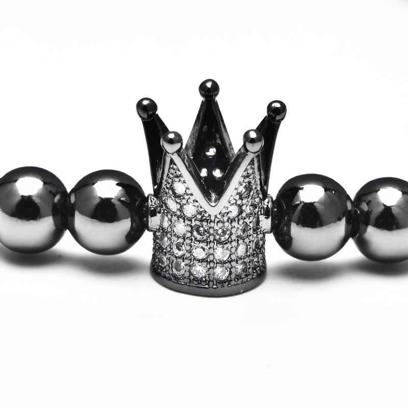 Luxo feminino masculino 6mm 28 pçs coroa de cobre strass frisado pulseiras trançado cordão ajustável zircão buda pulseiras jóias presentes