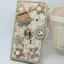 Luxe Bling Handgemaakte Glitter Rhinestone Pearl Leather Flip Wallet Beschermhoes Voor Samsung S10 S9 S20 S8 Plus Note10 9 8